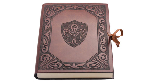 Leather Journal with Fleur de Lys Design