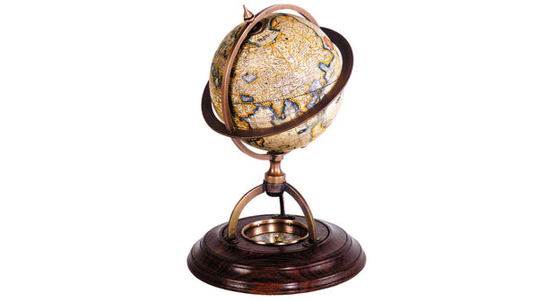 Globe antique style with compass in base