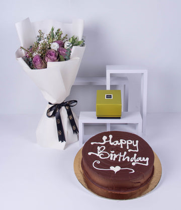 Purple Grass Chocolate & Cake Set - AYAR FLORIST  - متجر ايار لتسيق الزهور