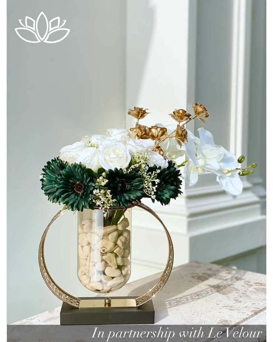 Green Rocks and Roses Vase