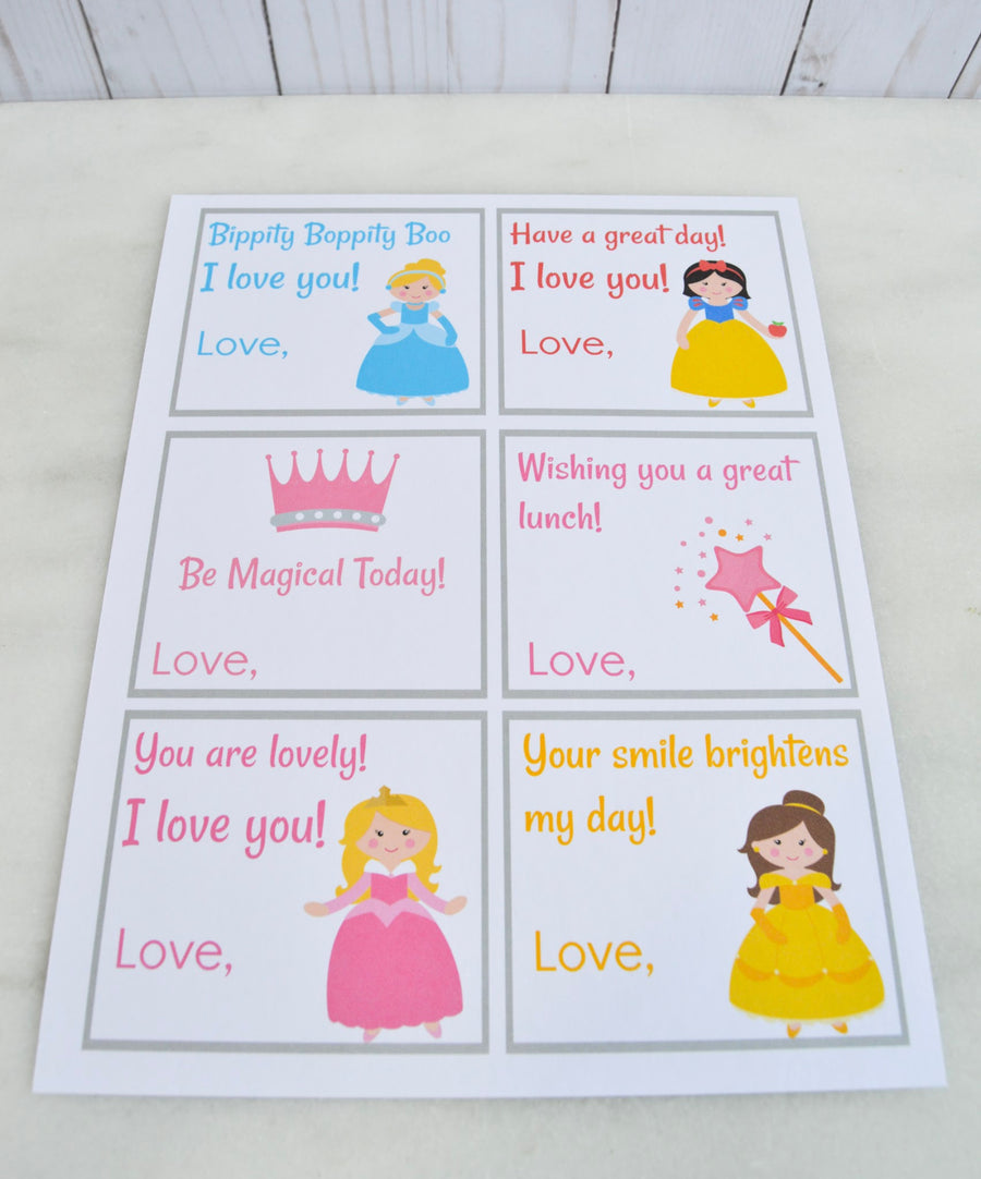 Princess Lunch Box Notes