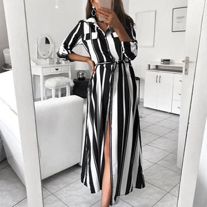 440e93626f AliExpress best selling explosions color vertical stripes legs in the  middle split shirt dress female new spot T6