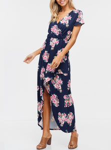 a3e448f39798 Dainty in navy- this maxi dress features short sleeves/ made of soft floral  knit