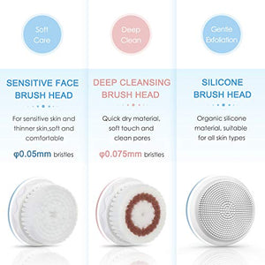 Liberex Sonic Vibrating Facial Cleansing Brush - 3 Brush Heads with 3 Modes, Waterproof, Smart Timer, Wireless Charging for Face Cleaning, Exfoliating and Massaging, Egg Shape, White