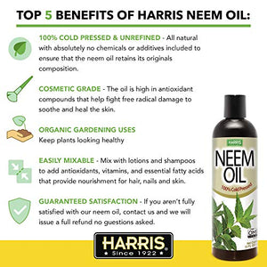 Harris Neem Oil, 100% Cold Pressed and Unrefined for Plant Spray, Skin and Hair