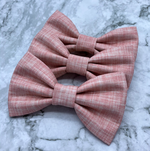 Watermelon - Pink Linen Solid Bow Tie