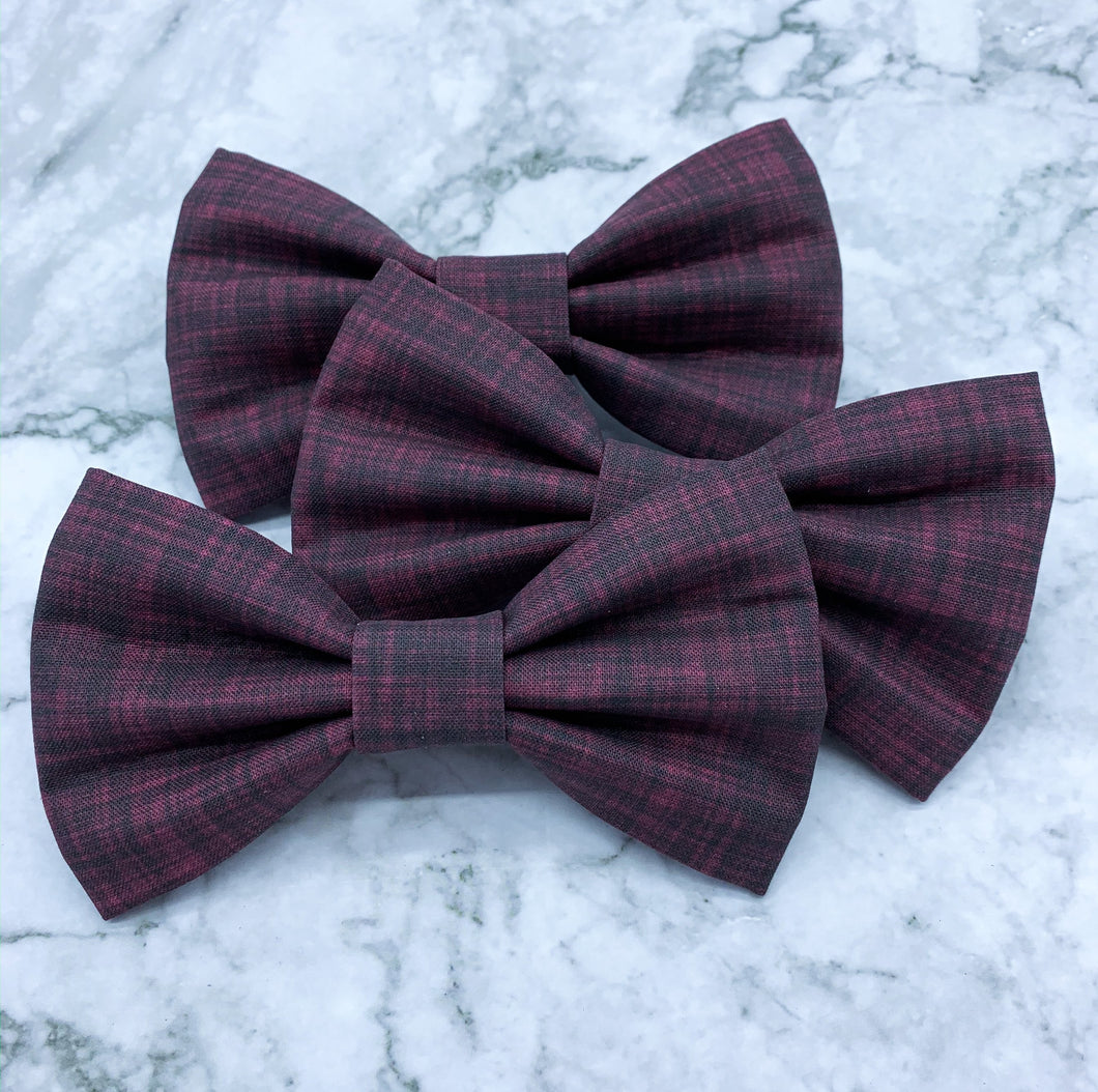 Merlot | Burgundy Linen Solid | Dog Bow Tie