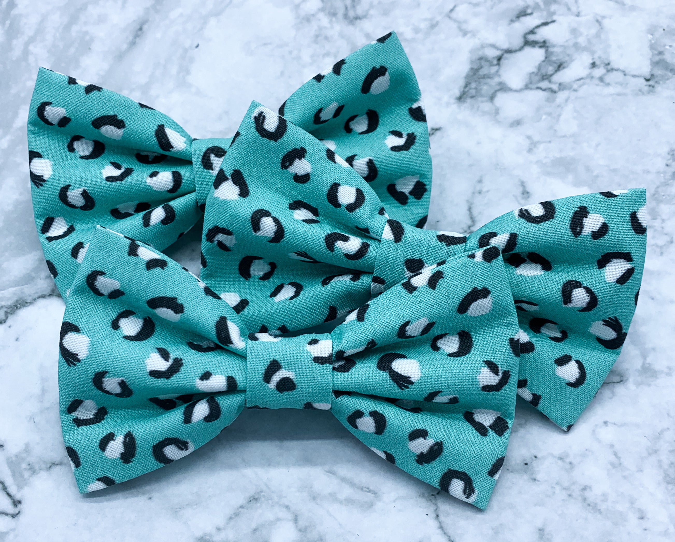 Teal Leopard | Dog Bow Tie
