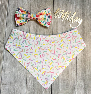 Happy Birthday - Dog Bow tie