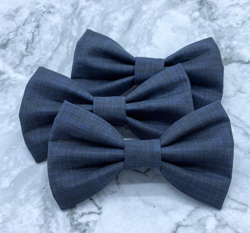 Written in the Stars | Navy Blue Linen Solid | Dog Bow Tie