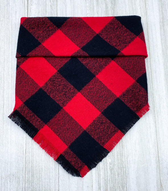 Buffalo Plaid  | Dog Square Fray Bandana