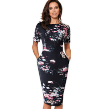 Load image into Gallery viewer, Elegant Vantage Floral Casual Work Dress