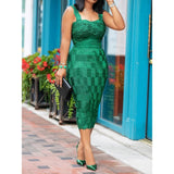 Green Women Bodycon Dress 2019 Summer Square Neck Hollow Mid-Calf Dress Robe Vestiods Elegant Party Club Dinner Female Dresses