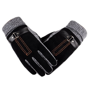Winter Men's Warm Gloves Natural Suede Leather