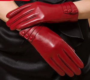 Winter Woman Genuine Leather Gloves