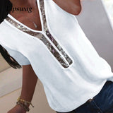 Elegant Ladies  chiffon Short Sleeve Blouse