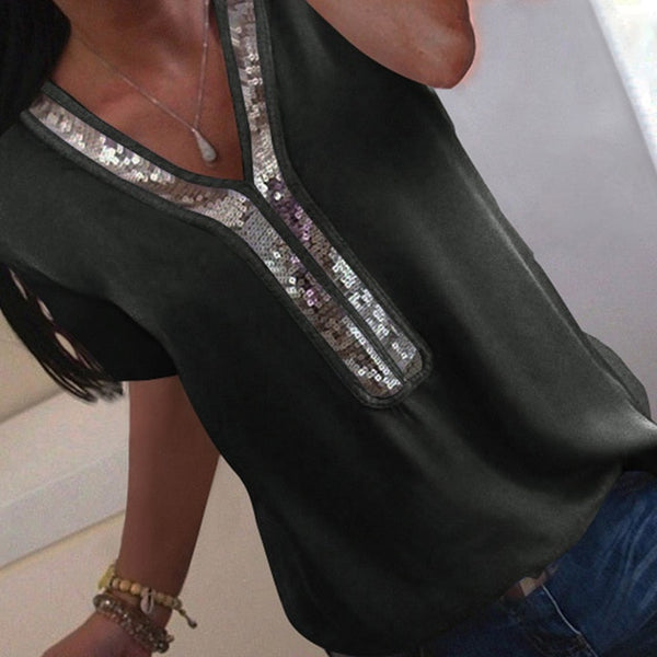 Elegant Ladies  chiffon Short Sleeve Blouse:bigredbags.com