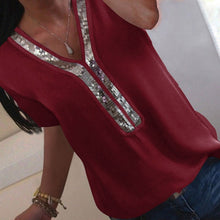 Load image into Gallery viewer, Elegant Ladies  chiffon Short Sleeve Blouse:bigredbags.com