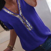 Load image into Gallery viewer, Elegant Ladies  chiffon Short Sleeve Blouse: bigredbags.com