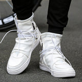 Rommedal shoes Men Leather White Black  High Top Brands Ankle Work Dress Male Low Heel Oxfords Boots autumn boots Men shoes 2019