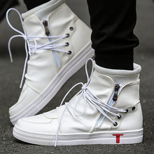 Load image into Gallery viewer, Rommedal shoes Men Leather White Black  High Top Brands Ankle Work Dress Male Low Heel Oxfords Boots autumn boots Men shoes 2019