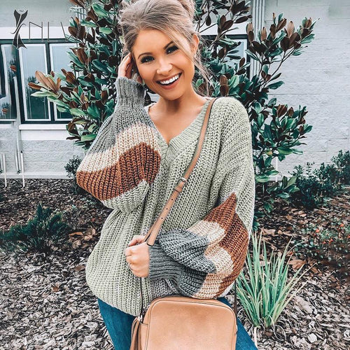 https://www.bigredbags.com:Woman Loose Lantern Sleeve Sweater