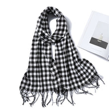 Load image into Gallery viewer, 2019 NEW women scarf fashion plaid cashmere scarves for lady winter shawls with tassel long size wraps pashmina bandana foulard