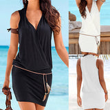 Women Casual V-Neck Hollow Out Sleeve Straight Dress