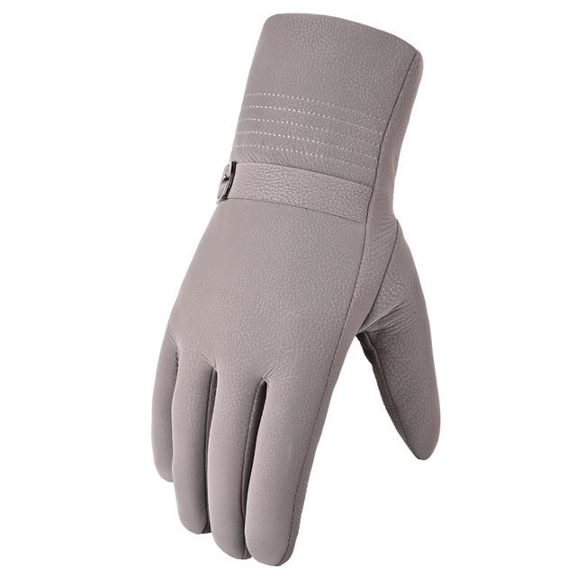 Winter Plus Velvet Thick Warm Leather Gloves for Men:bigredbags.com