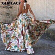 Load image into Gallery viewer, Women Floral Print Backless Party Dress: https://bigredbagshopping.myshopify.com/