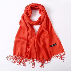 Ladies Solid Red Pink Thin Winter Scarf