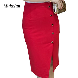 Women  Red Pencil Skirt with open Slit.