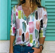 Load image into Gallery viewer, Woman's Print  V- Neck Shirt