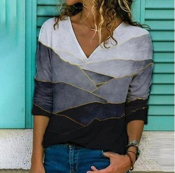 Woman's Print  V- Neck Shirt