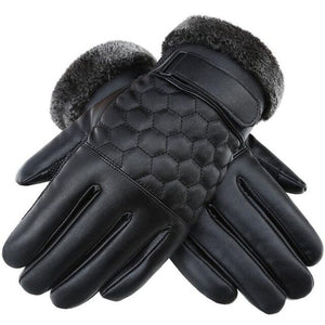 High Quality Genuine Leather Winter Gloves for Men;Bigredbags.com