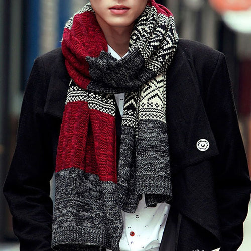Men e Winter Multi color Patchwork Vintage  Knitted Scarf:bigredbags.com