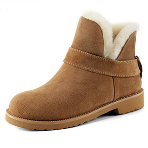Ankle Winter Suede Leather Snow Boots for Women:bigredbags.com