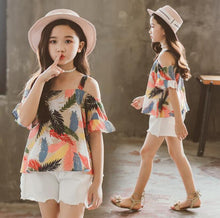 Load image into Gallery viewer, Teenage Girls Clothes Suit Summer Fashion Print Tops + Denim Shorts