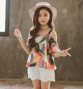 Teenage Girls Clothes Suit Summer Fashion Print Tops + Denim Shorts:bigredbags.com