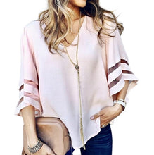 Load image into Gallery viewer, V Neck Flared Sleeves Mesh Patchwork Shirts Summer Plus Size Casual Loose Mesh Women Blouse Pink Street Womens Tops Blouses 5XL