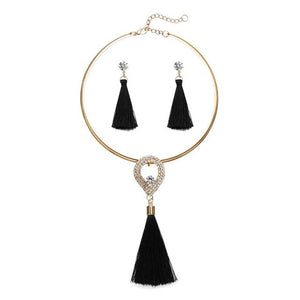 Elegant Tassel Jewelry Sets Gold Chain Crystal Water Drop Chocker Necklaces Earrings Sets Wedding Jewelry For Women Party Gift