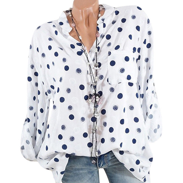 Bigredbagshop.com: Women's V Neck Polka Dot Shirts Long Sleeve Tops