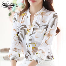 Load image into Gallery viewer, Ladies V-Neck slim Chiffon Blouse