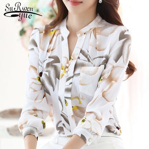 Ladies V-Neck slim Chiffon Blouse