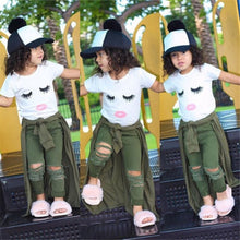 Load image into Gallery viewer, Girls 2 PIC   T-shirt and Army Pants