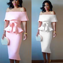 Load image into Gallery viewer, Women Elegant  Dress Evening Dress White Pink bigredbags.com
