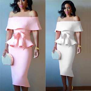 Women Elegant  Dress Evening Dress White Pink bigredbags.com