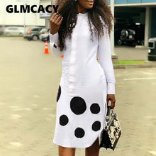 Load image into Gallery viewer, Women Casual  Long Sleeve Polka Dot Shirt Dress