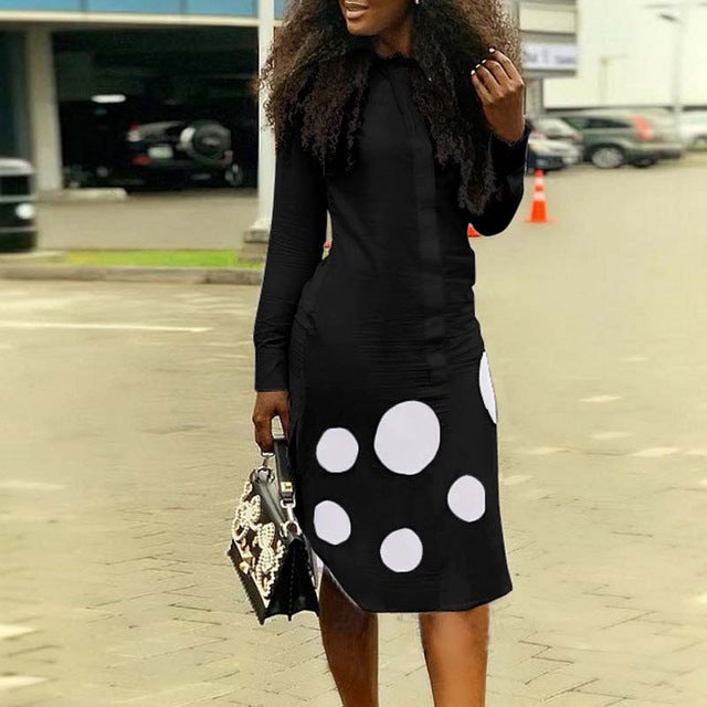 Women Casual  Long Sleeve Polka Dot Shirt Dress