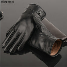 Load image into Gallery viewer, Genuine Leather Winter Gloves for Men:Bigredbags.com
